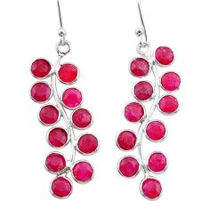 925 sterling silver 9.72cts natural red ruby chandelier earrings jewelry t38887