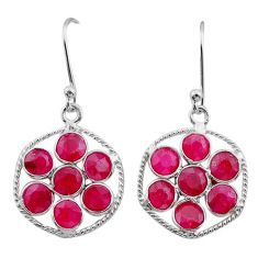 925 sterling silver 7.18cts natural red ruby chandelier earrings jewelry t38919