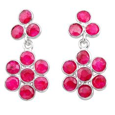 925 sterling silver 7.55cts natural red ruby chandelier earrings jewelry t38931