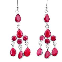925 sterling silver 12.10cts natural red ruby chandelier earrings jewelry t4676