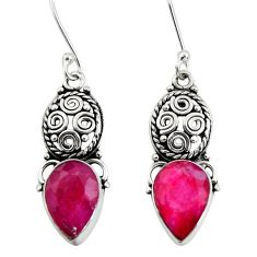 Clearance Sale- 925 sterling silver 7.97cts natural red ruby dangle earrings jewelry d40484