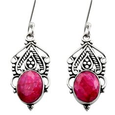Clearance Sale- 925 sterling silver 8.91cts natural red ruby dangle earrings jewelry d40704