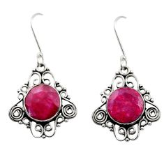 925 sterling silver 9.65cts natural red ruby dangle earrings jewelry d40708