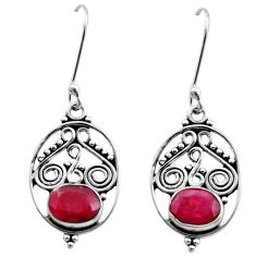 925 sterling silver 4.08cts natural red ruby dangle earrings jewelry d40714