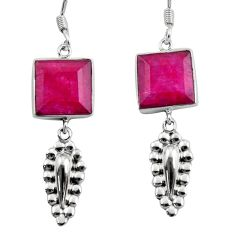 925 sterling silver 16.83cts natural red ruby dangle earrings jewelry d45754
