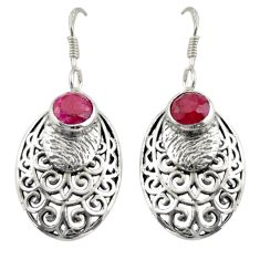 925 sterling silver 2.28cts natural red ruby dangle earrings jewelry d47048