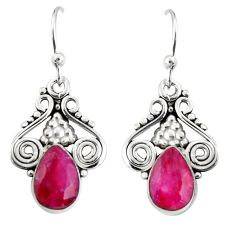 925 sterling silver 4.23cts natural red ruby dangle earrings jewelry r19911