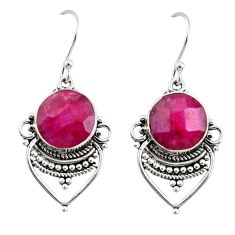 925 sterling silver 8.84cts natural red ruby dangle earrings jewelry r30884
