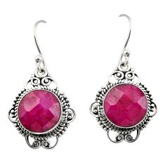 925 sterling silver 9.20cts natural red ruby dangle earrings jewelry r30957