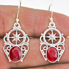 925 sterling silver 6.26cts natural red ruby dangle earrings jewelry t47011