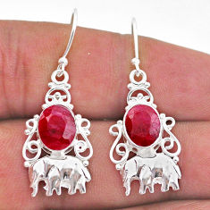 925 sterling silver 5.82cts natural red ruby elephant earrings jewelry t47020