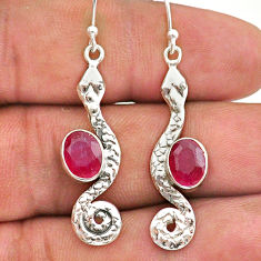 925 sterling silver 4.30cts natural red ruby snake earrings jewelry t40200