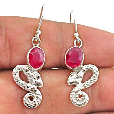 925 sterling silver 4.05cts natural red ruby snake earrings jewelry t40218