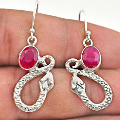 925 sterling silver 4.26cts natural red ruby snake earrings jewelry t40260