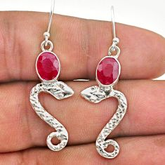925 sterling silver 4.08cts natural red ruby snake earrings jewelry t40280