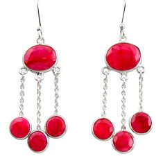 Clearance Sale- 925 sterling silver 17.53cts natural red ruby xchandelier earrings d39894
