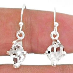 925 sterling silver 5.68cts natural white herkimer diamond dangle earrings t6804
