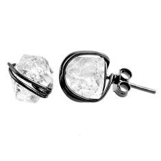 925 sterling silver 7.71cts natural white herkimer diamond stud earrings r65844