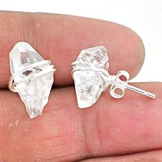 925 sterling silver 9.45cts natural white herkimer diamond stud earrings t6495