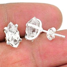 925 sterling silver 5.77cts natural white herkimer diamond stud earrings t6884
