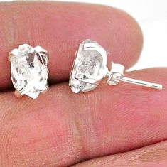 925 sterling silver 5.77cts natural white herkimer diamond stud earrings t6891