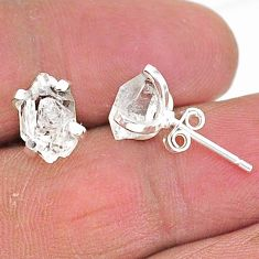 925 sterling silver 5.12cts natural white herkimer diamond stud earrings t6900