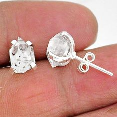 925 sterling silver 5.68cts natural white herkimer diamond stud earrings t6904