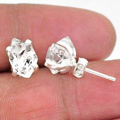 925 sterling silver 5.66cts natural white herkimer diamond stud earrings t6912