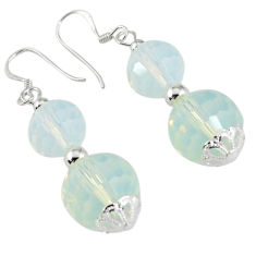 925 sterling silver natural white opalite dangle earrings jewelry c23899