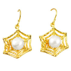 925 sterling silver natural white pearl 14k gold dangle earrings jewelry c24052