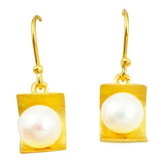 925 sterling silver natural white pearl 14k gold dangle earrings jewelry c24079