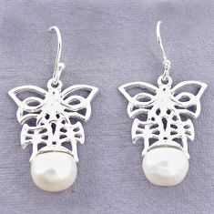 925 sterling silver natural white pearl butterfly earrings jewelry c24209