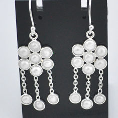 925 sterling silver 8.46cts natural white pearl chandelier earrings t4647