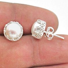 925 sterling silver 6.70cts natural white pearl crown stud earrings t43712