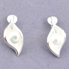 925 sterling silver natural white pearl stud earrings jewelry c23775