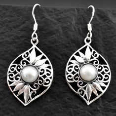 Clearance Sale- 925 sterling silver 4.38cts natural white pearl dangle earrings jewelry d40607