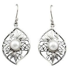 925 sterling silver 4.38cts natural white pearl dangle earrings jewelry d46877
