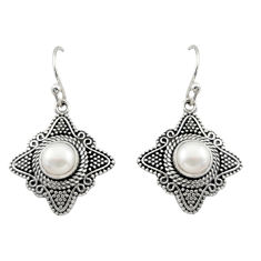 925 sterling silver 2.36cts natural white pearl dangle earrings jewelry d47018