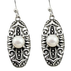 925 sterling silver 2.27cts natural white pearl dangle earrings jewelry d47099