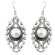 925 sterling silver 6.12cts natural white pearl dangle earrings jewelry r19752