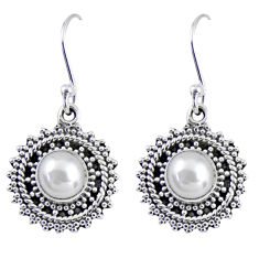 925 sterling silver 2.81cts natural white pearl dangle earrings jewelry r55192