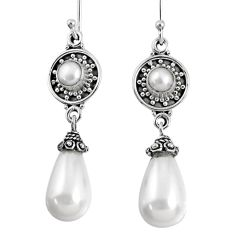 925 sterling silver 20.20cts natural white pearl dangle earrings jewelry r59856