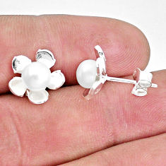925 sterling silver 2.71cts natural white pearl stud flower earrings c23050
