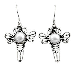 Clearance Sale- 925 sterling silver 7.11cts natural white pearl dragonfly earrings d40738