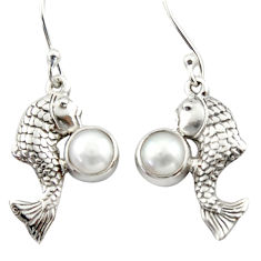 925 sterling silver 2.58cts natural white pearl fish earrings jewelry d46800