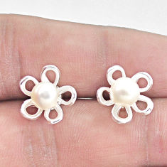 925 sterling silver 2.82cts natural white pearl flower earrings jewelry c25635