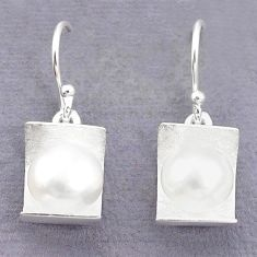 925 sterling silver natural white pearl round earrings jewelry c23778