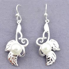 925 sterling silver natural white pearl round earrings jewelry c24216