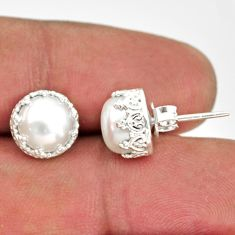 925 sterling silver 6.61cts natural white pearl stud earrings jewelry r38619