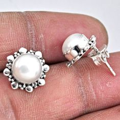 925 sterling silver 5.54cts natural white pearl stud earrings jewelry r55155